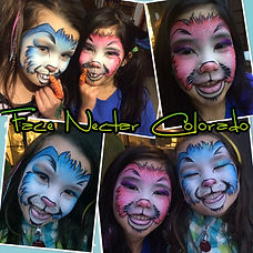Denver face painter, face painting, face nectar colorado, Easter bunny face paint, Emiko Martinez, Denver artist