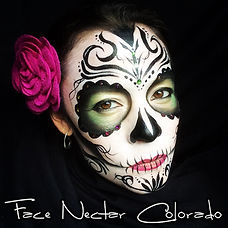 Denver face painter, sugar skull, Face Nectar Colorado, body painting artist, face paint, birthday party, butterfly face paint, tiger face paint, shark face paint