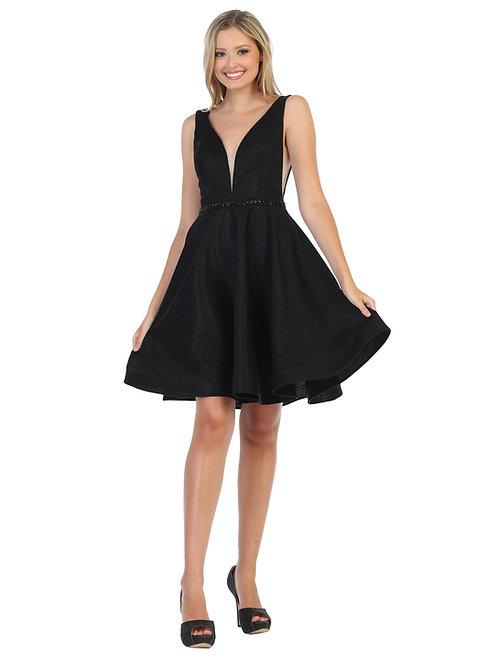 PLUNGING V-NECK GLITTER SHORT DRESS