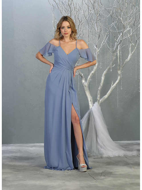 DRAPED COLD SHOULDER HIGH SLIT DRESS