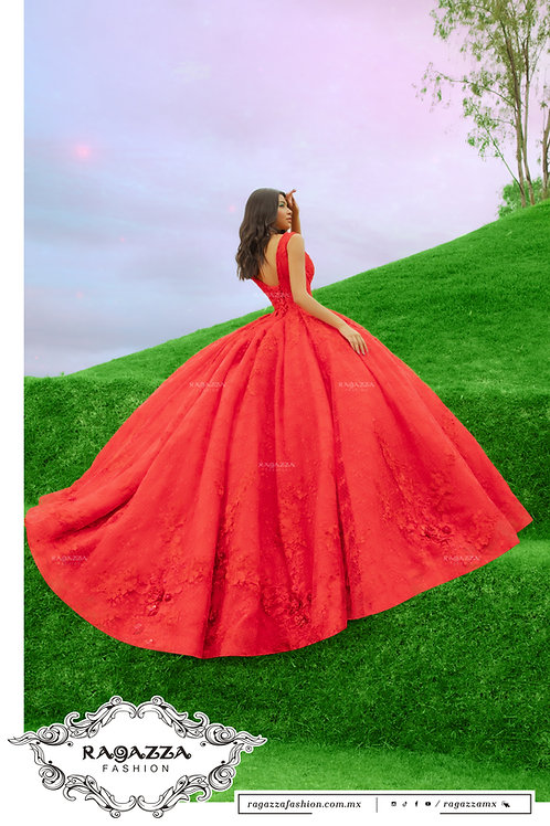 DV59-559 RED LACE QUINCEANERA DRESS BY RAGAZZA