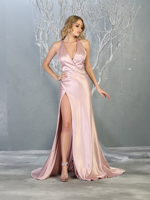 PLUNGING V-NECK A-LINE EVENING GOWN