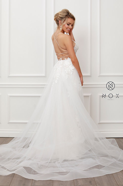 LACE AND BEADS EMBROIDERED MERMAID GOWN WITH OVERSKIRT