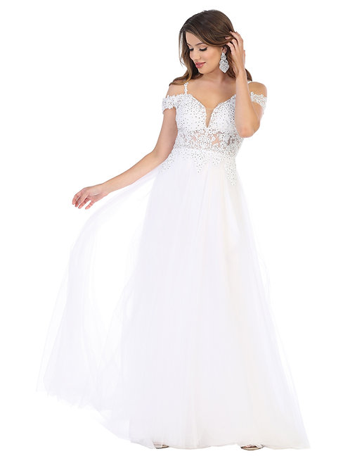 EMBROIDERED DEEP OFF-SHOULDER A-LINE GOWN