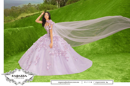DV51-551 LILAC CAPE QUINCEANERA DRESS