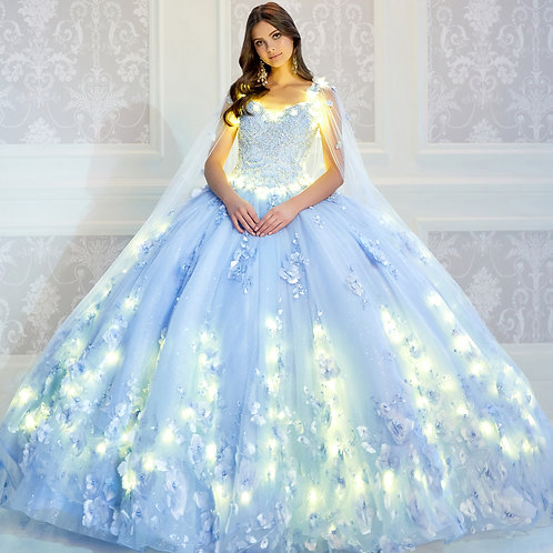 Princesa by Ariana Vara Light-up quinceanera dress with detachable cape