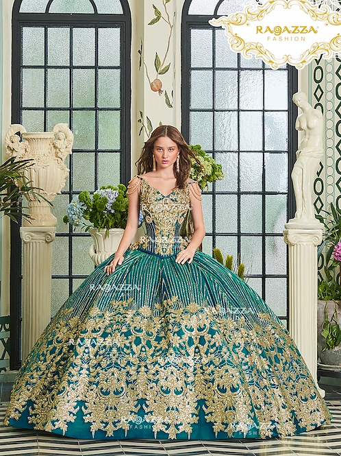 D20-520BEADED 2-PIECE V-NECK QUINCEANERA DRESS BY RAGAZZA FASHION