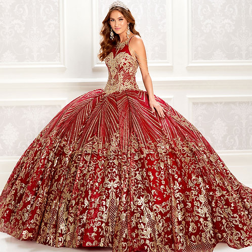 Princesa by Ariana Vara Royal maroon quinceanera dress with gold lace
