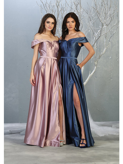 SURPLICE OFF SHOULDER HIGH SLIT METALLIC DRESS