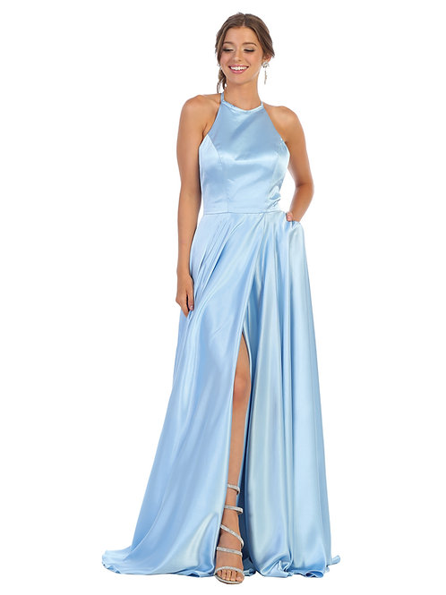STRAPPY A-LINE HALTER GOWN