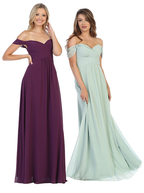 DRAPED OFF SHOULDER CHIFFON A-LINE GOWN