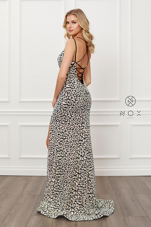 BLACK AND SILVER MERMAID V NECK LONG GOWN WITH SIDE SLIT