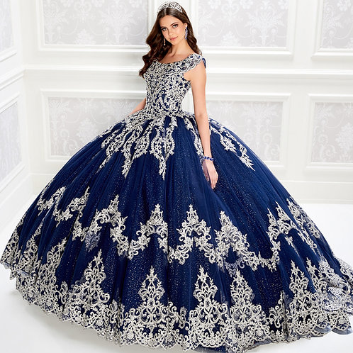 Princesa by Ariana off the shoulder quinceanera dress with scalloped lace