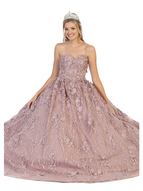 FLORAL APPLIQUE SWEETHEART BALLGOWN