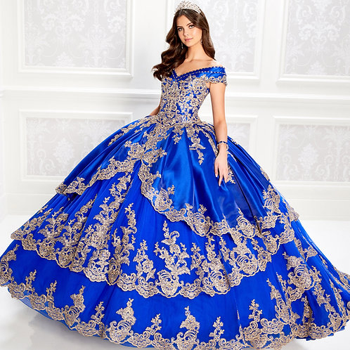 princesa by Ariana Vara  satin quinceanera dress with off the shoulder neckline
