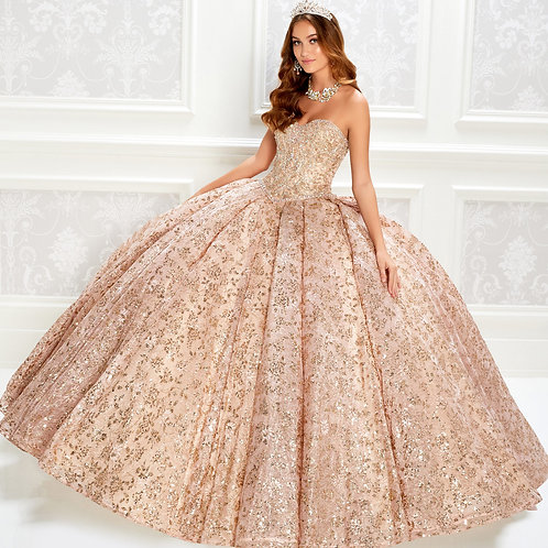 Princesa by Ariana Vara Sparkling strapless quinceanera dress embroidered lace