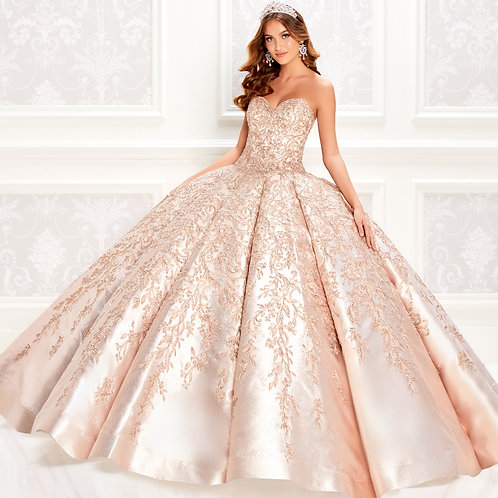 Princesa by Ariana Vara Shimmering rose gold quinceanera dress