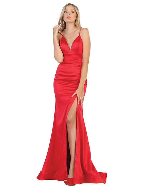 PLUNGING NECK WITH SPAGHETTI STRAP EVENING DRESS