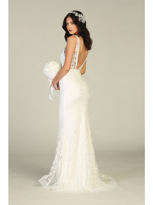 BEADED SOUTACHE PLUNGING V-NECK GOWN