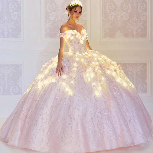 Princesa by Ariana Vara Ethereal light-up quinceanera dress with 3D flowers