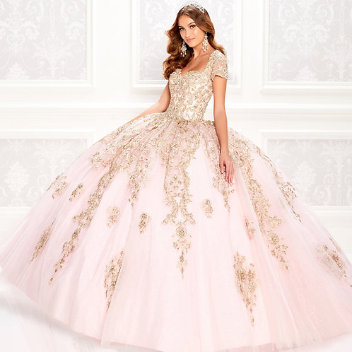 princesa by Ariana Vara Regal pastel quinceanera dress with short sleeves