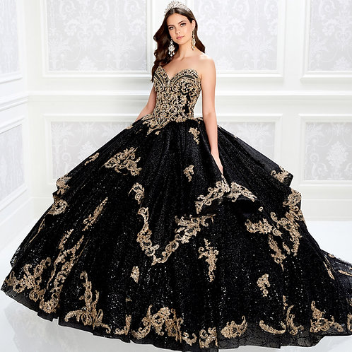 Princesa by ArianaEye-catching strapless quinceanera dress with gold embroidery