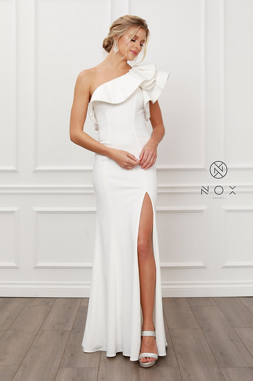 ONE SHOULDER RUFFLE OVERLAY TRUMPET LONG GOWN