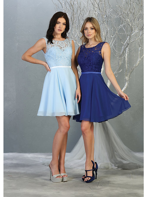 LACE CHIFFON COCKTAIL DRESS WITH LACE-UP BACK