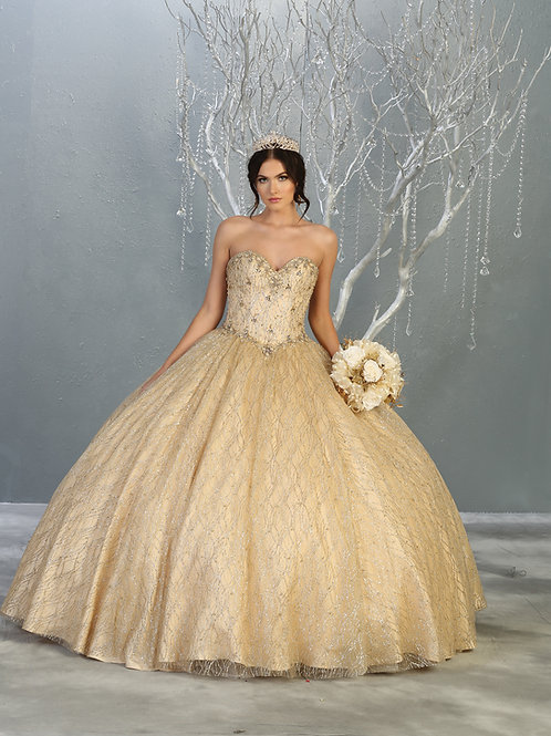 SEQUINED STRAPLESS SWEETHEART BALLGOWN