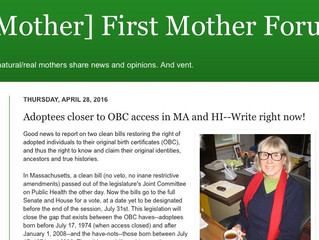 Adoptees closer to OBC access in MA and HI--Write right now!