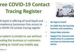 Free App-less mobile Contactless Contact Tracing Register for Kapiti & Horowhenua Businesses