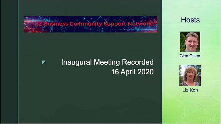 Inaugural Meeting Recorded 16 April 2020