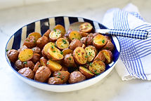 Roasted-New-Potatoes-with-Mint-close-up-