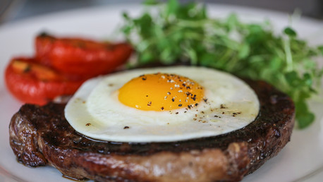 Red-Hereford-steak-fried-free-range-egg-