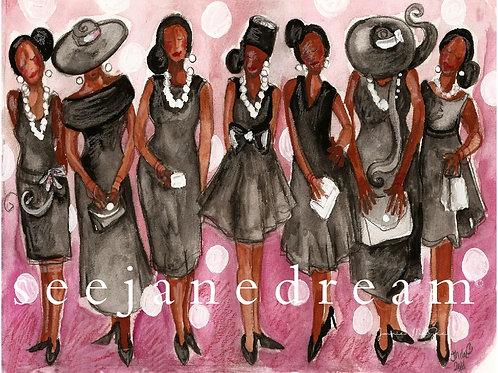 Church Lady Little Black Dress Greeting Cards