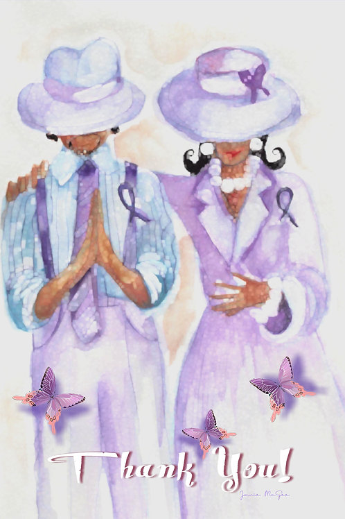 Purple Prayer Men and Women Cards