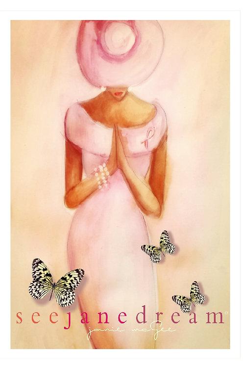 Pink Prayer Alone Prayer Card