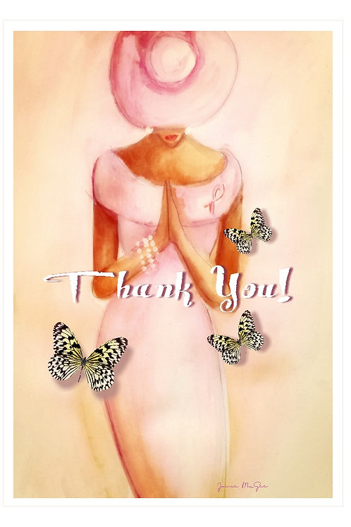 Pink Prayer Alone Thank You Card