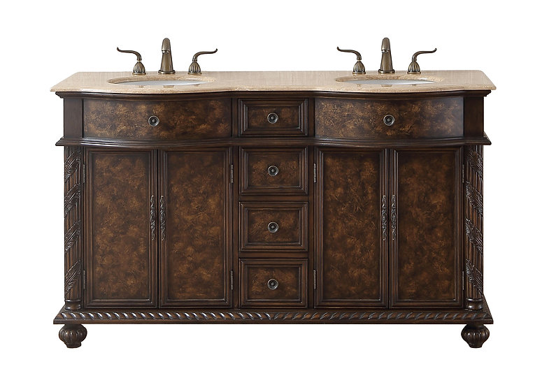 "60"" Amelia Double Sink Vanity with Travertine Marble Top"