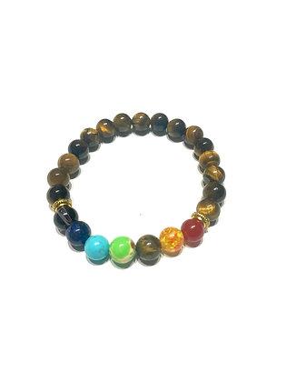 Tiger's Eye Seven Chakra Healing Bracelet