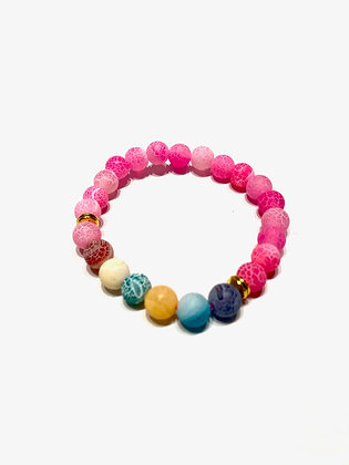Weathered Agate Beads Seven Chakras Yoga Bracelet