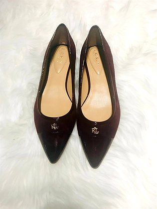 Bordeaux Patent Leather and Suede RL Flats