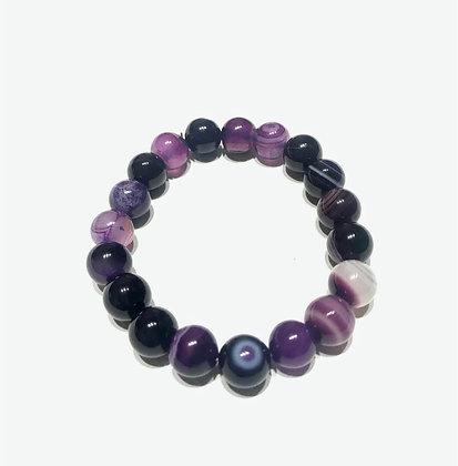 Lace Agate Purple Buddha Head Bracelet