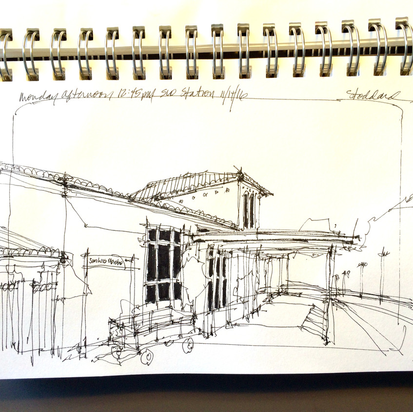 13 SLO station, pen and ink