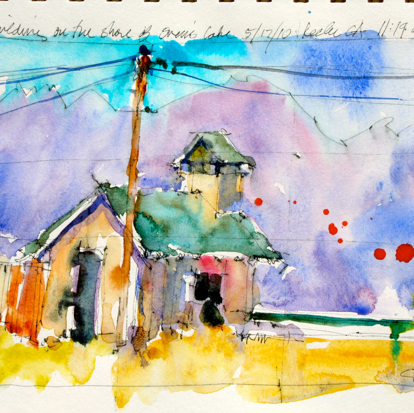 Sketch with enhanced mountains and a relocated telephone pole.