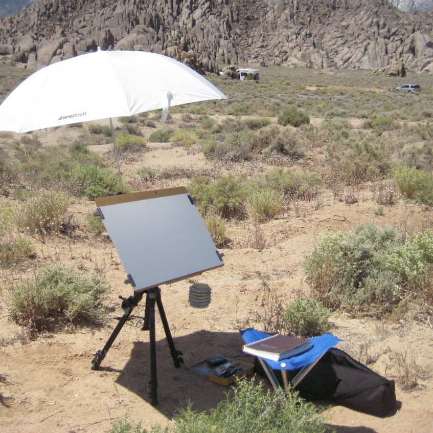 It was hot and windy as I set up my outdoor studio. I have a tempered hardboard panel outfitted with a threaded nutsert that allows me to attach it to a camera tripod.