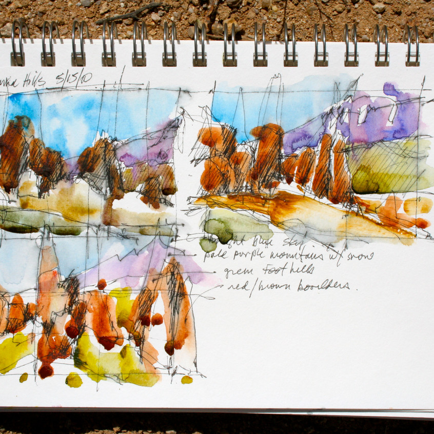 """Study sketches done in my 6"""" x 9"""" Aquabee sketchbook."""