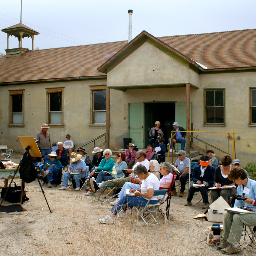 The demonstration site was an old school house.