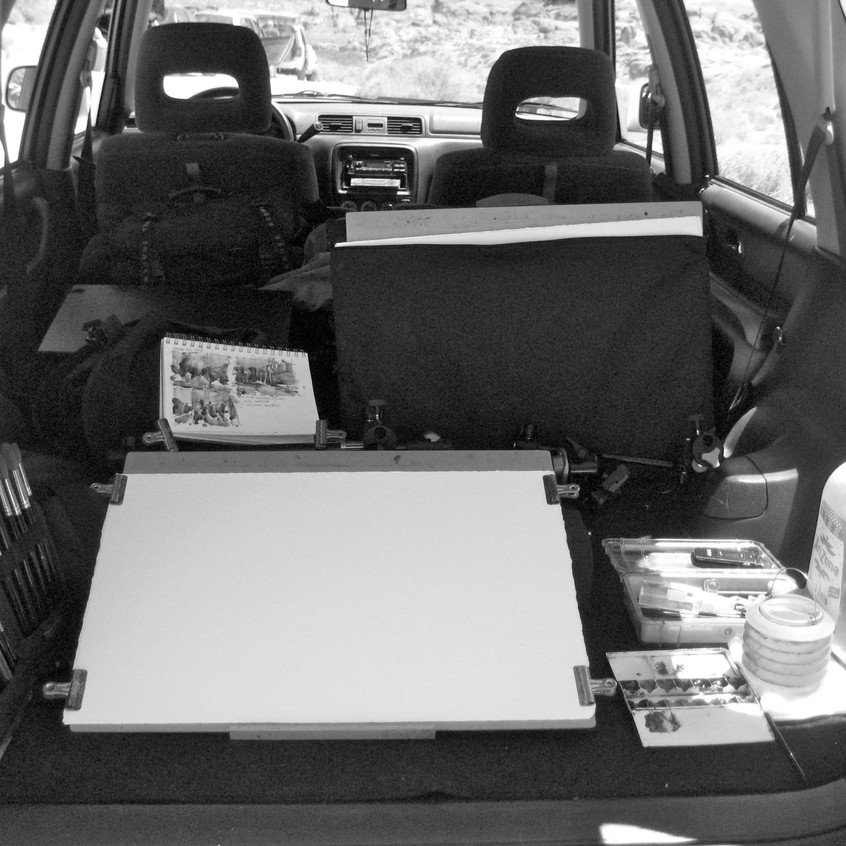 The wind and blowing dust forced me to work from inside the back of my CR-V. It was a cramped but workable space.