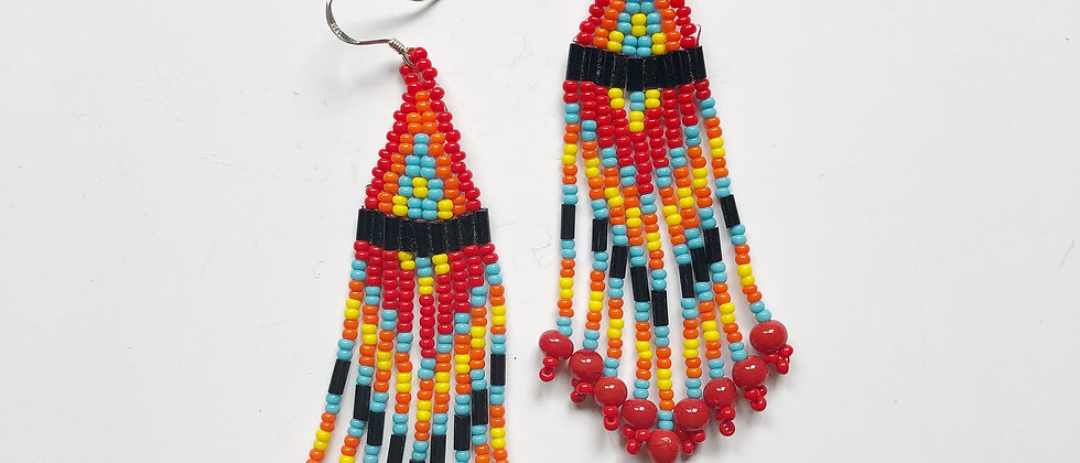 Fiery Fringed Earrings